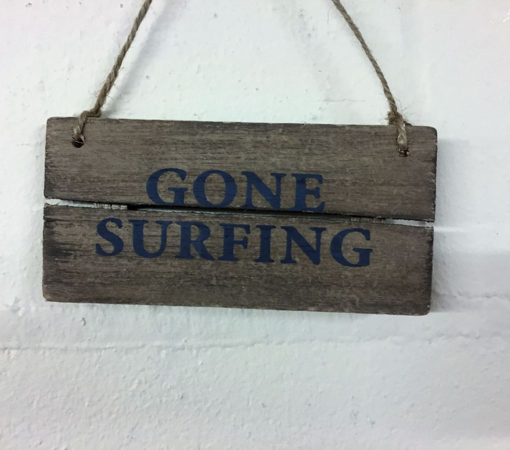 GONE SURFING  Driftwood Coastal Hanging Sign